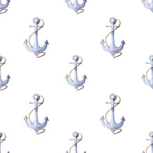 Watercolor Nautical Pattern. Seamless Pattern Of Blue Anchor With Rope. Endless Digital Background, Wallpaper. Great Four Wrapping Paper, Decoupage, Textile Fabric Print