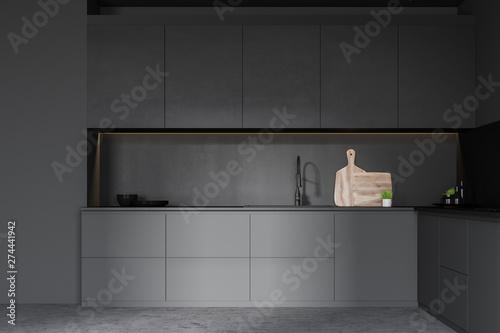 Poster Ecole de Danse Dark gray kitchen with countertops
