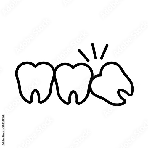 Fotografia Impacted wisdom tooth for dentistry and dental surgery icon vector illustration