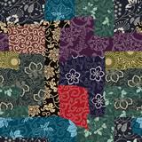 Tradycyjne japońskie tkaniny patchworku tapeta streszczenie kwiatowy wektor wzór - 274443317