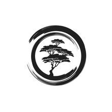 Circle Brushstroke With Bonsai Tree Inside Illustration Logo Design