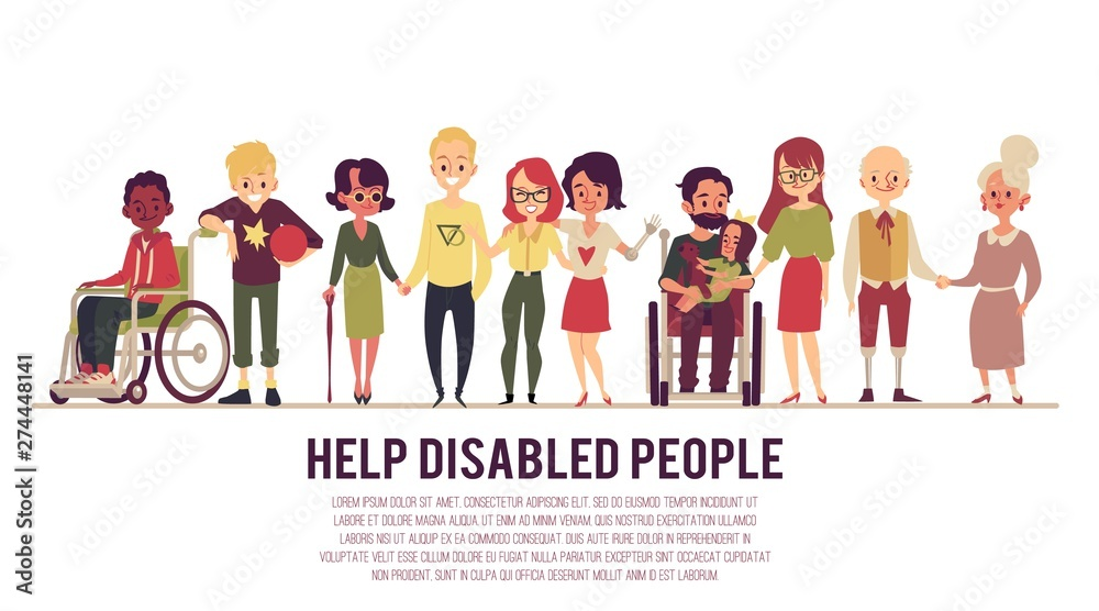 Fototapety, obrazy: Help and support of disabled people banner flat vector illustration isolated.