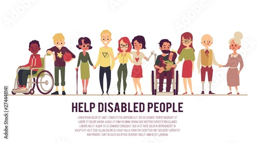 Help and support of disabled people banner flat vector illustration isolated Wallpaper Mural
