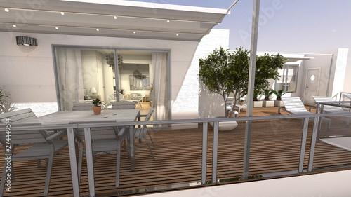Terraza Con Vistas Casa Mediterranea Render 3d Buy This