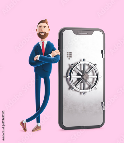 Cartoon character Billy stand with a telephone in the form of a safe. Mobile banking concept. Online Bank. 3d illustration on pink background