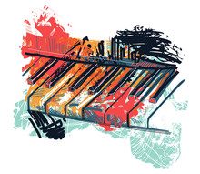 Abstract Piano Keyboard In Wat...