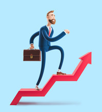 Cartoon Character Billy Goes To Success. 3d Illustration On Blue Background. Concept Of Financial Growth. Dashboard With The Analysis Of Finance