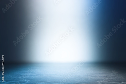 background of abstract dark concentrate floor scene with mist or fog, spotlight and display