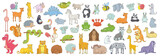 Fototapeta Fototapety na ścianę do pokoju dziecięcego - Set of different animals. isolated on white background