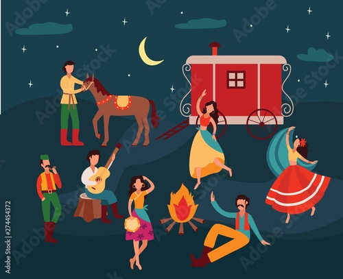 Gypsy people dancing in the night, cartoon men and women in traditional clothes Wallpaper Mural