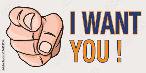 Concept du choix du leader, avec le dessin d'une main vue de face, qui désigne du doigt, quelqu'un pour illustrer la phrase : I want you Wallpaper Mural