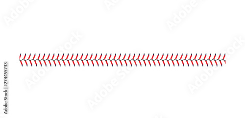 Fotomural Baseball and softball lace stitch isolated on white background, straight line of