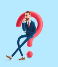 Cartoon Character Billy Looking For A Solution. 3d Illustration On Blue Background