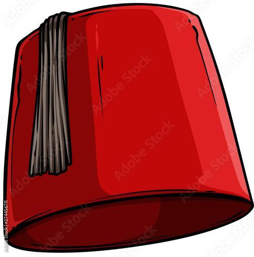 Photo Cartoon red Turkish hat fez with black tassel