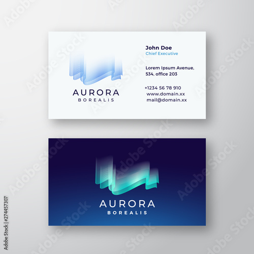 Aurora Borealis Northern Lights Abstract Vector Sign or Logo and Business Card Template. Premium Stationary Realistic Mock Up. Fototapete