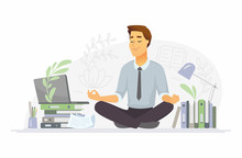 Mindfulness - Modern Vector Cartoon People Characters Illustration