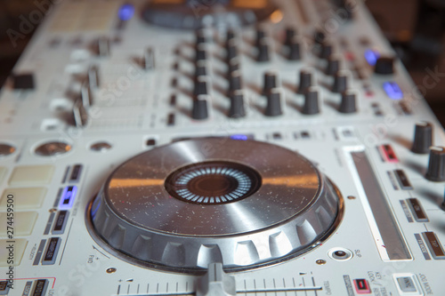 White dj apparatus   Digital turn table deck for nightclub