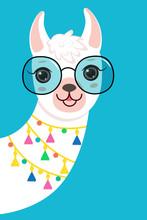 Cute White Llama Llama Head In Sunglasses