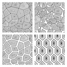 Geometric Seamless Art Deco Pattern Of Turtle Shell Vector Illustration.