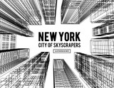 Fototapeta Nowy York - New York is a city of skyscrapers. Vector illustration in the drawing style on a white. View of the skyscrapers below