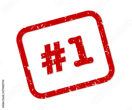 Number 1 Rubber Stamp Vector Fototapete