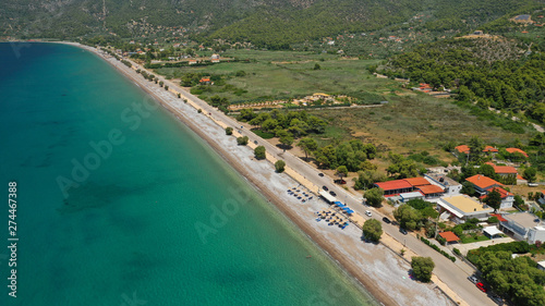 Photo Aerial panoramic photo of famous sandy beach of Psatha in West Attica with emera