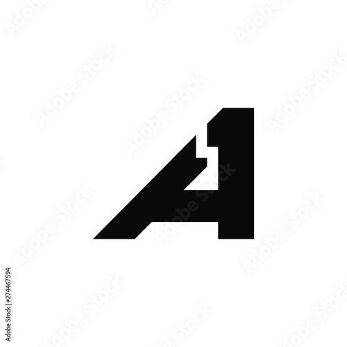 Photo letter A 1 icon logo design concept