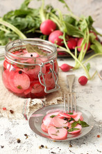 Pickled Radish In A Jar Of Her...