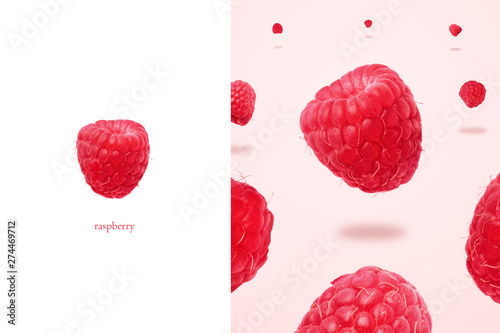 layout raspberries levitating over pink background, panoramic image, food background with summer berries. Creative minimalism