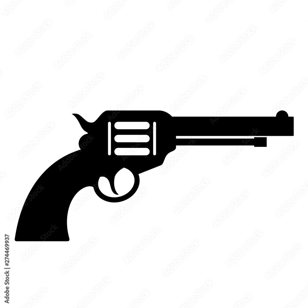 Fototapeta Gun revolver vector icon