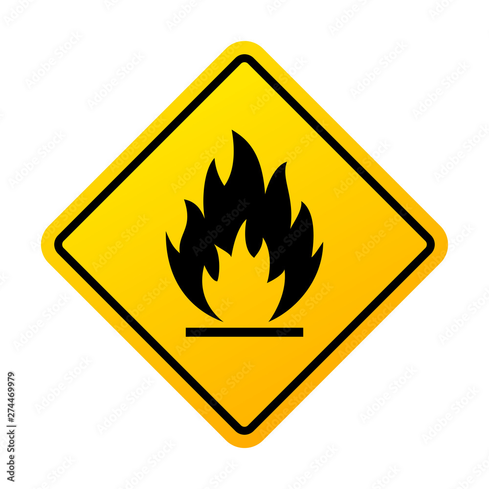 Fototapety, obrazy: Flammable materials warning sign
