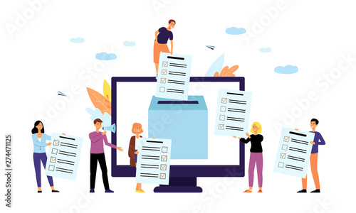 Vászonkép Online polling or survey concept with people flat vector illustration isolated