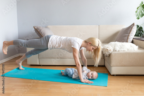 Fantastic Mother And Child With White Dog In A Bright Room With Grey Gamerscity Chair Design For Home Gamerscityorg