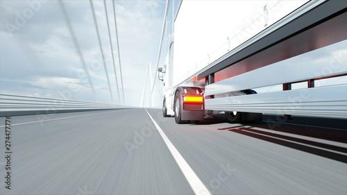 Fotografie, Obraz  3d model of white truck on the bridge. 3d rendering.