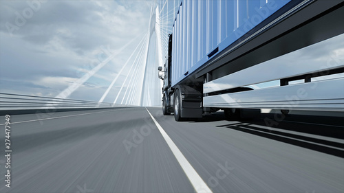 3d model of truck on the bridge. 3d rendering. Canvas Print