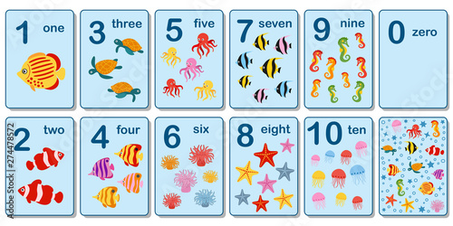 Obraz Printable flashcard collection for numbers from 0 to 10 for children on the sea animals and fish theme - fototapety do salonu