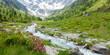Panorama einer Berglandschaft mit Gletscher und Gebirgsbach