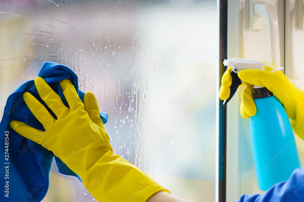 Fototapety, obrazy: Gloved hand cleaning window rag and spray