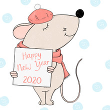 Mouse In A Beret Holds A Frame For Your Text. Greeting Card For New Year And Christmas.