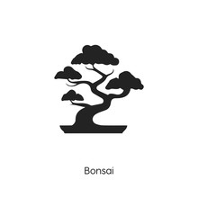 Bonsai Icon. Bonsai Icon Vector. Linear Style Sign For Mobile Concept And Web Design. Tree Symbol Illustration. Vector Graphics - Vector