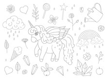 Vector Set Of Cute Unicorns, Rainbow, Clouds, Crystals, Hearts, Flowers Outlines. Sweet Girlish Illustration. Line Drawing Of Fairytale Magic Garden.