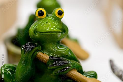 Foto op Canvas Kikker ceramic green frog