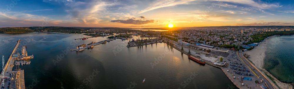 Fototapety, obrazy: Amazing aerial panorama drone view of Varna city, Bulgaria.