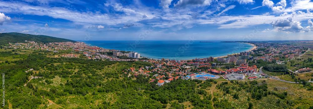 Fototapety, obrazy: Amazing aerial panorama drone view of bay Sunny Beach, Nessebar, and Sveti Vlas, Bulgaria
