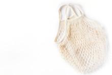 Cotton Eco Mesh Bag On White Background. Eco-friendly Concept