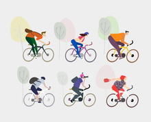 Set Of Cycling People. Morning...