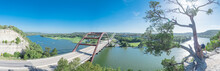Panoramic Pennybacker Bridge Over Colorado River And Limestone Cliff In Austin