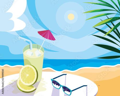 Canvas Print lemon juice with umbrella and straw design