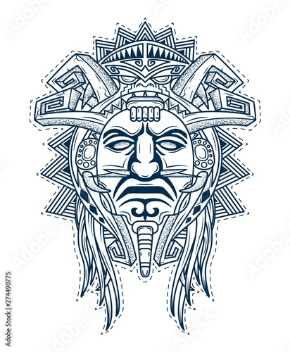 scary mask of the gods of the people aztec Wallpaper Mural