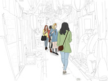 """Hand Drawn Illustration. Young Women Tourists Explore The Scenic """"Memory Lane,"""" Also Called """"Piss Alley"""" Area, In Shinjuku, Known For Narrow Streets, Historic Architecture, And Tiny Bars."""